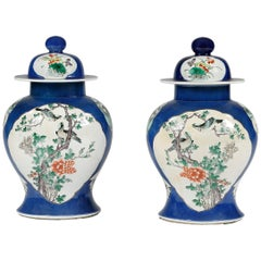 19th Century Pair of Chinese Porcelain Vases with Lids