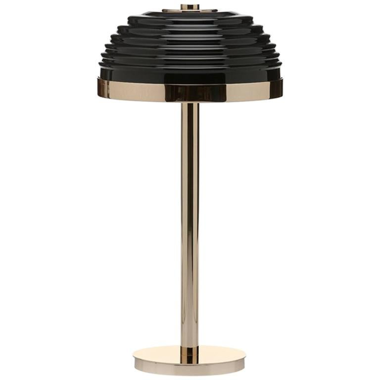 Duke Table Lamp with Black Glass Shade