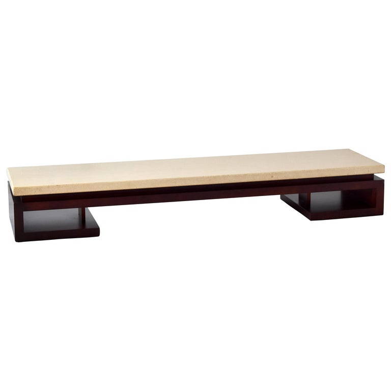 Paul Frankl, Low Coffee Table, Painted Cork, Stained Mahogany, 1940s America For Sale