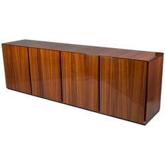 Walnut and Sycamore Veneered Sideboard, Italy, 1960s