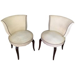 French 1950s Pair of Skai Armless Chairs