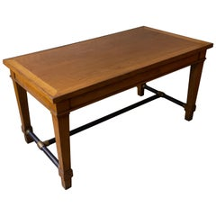 French 1940s Bank Table with Iron Stretcher