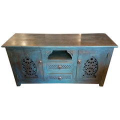 Moroccan Turquoise Media Stand, Cedar Wood