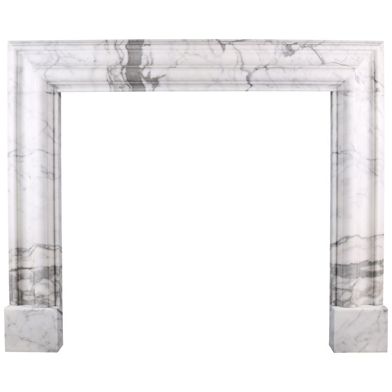 Baroque Bolection Fireplace Surround in Italian White Statuary Marble Fireplace2