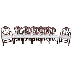 Set of Twelve English Mahogany Hepplewhite Style Shield Back Chairs, Circa 1840
