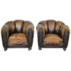 Pair of Art Deco Leather Club Chairs, Armchairs, Scalloped Back, Aged Patina