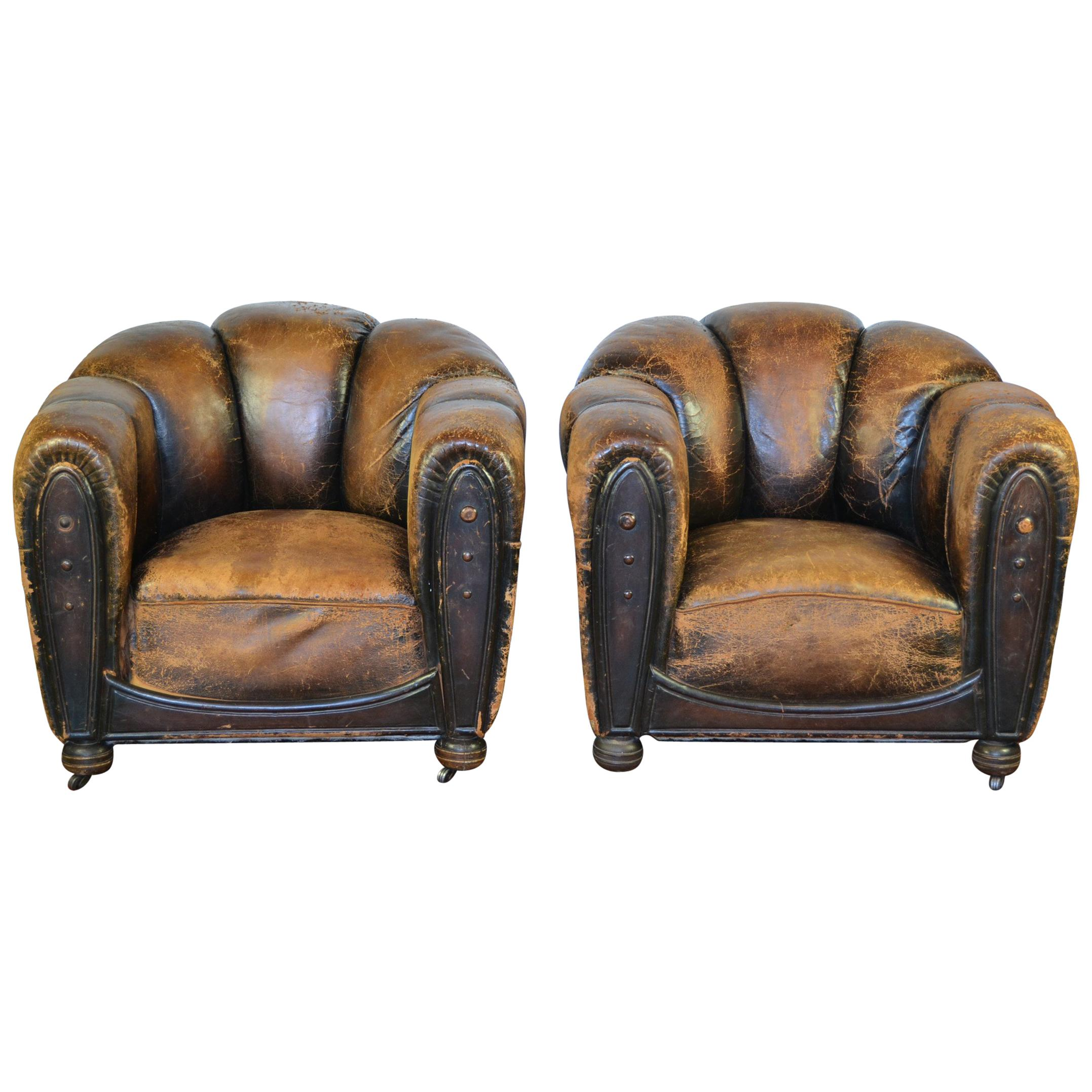 Pair Of Art Deco Leather Club Chairs, Armchairs, Scalloped Back, Aged  Patina For