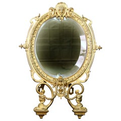 Nice Late 19th Century Gilt Bronze Empire Style Dressing Table Mirror