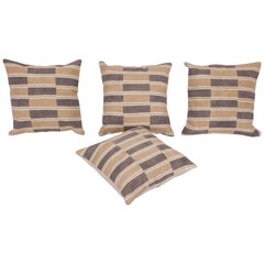 Cushion Covers or Pillows Fashioned from a Midcentury Turkish Cotton Kilim