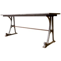 Large French Iron and Marble Industrial Table