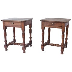 Pair of Oak Turned Leg Side Tables with Drawer