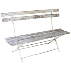 Antique French Folding Bistro Bench