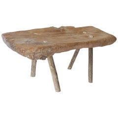 Rustic French Natural Pine Low Table or Bench