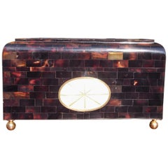 English Regency Tortoiseshell and Mother-of-Pearl Hinged Glove Box, Circa 1840