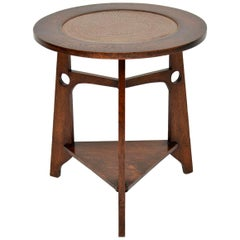 Antique Oak and Copper Arts & Crafts Side Table