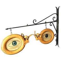 Antique Optometrist Trade Sign with Wall Bracket, circa 1920s