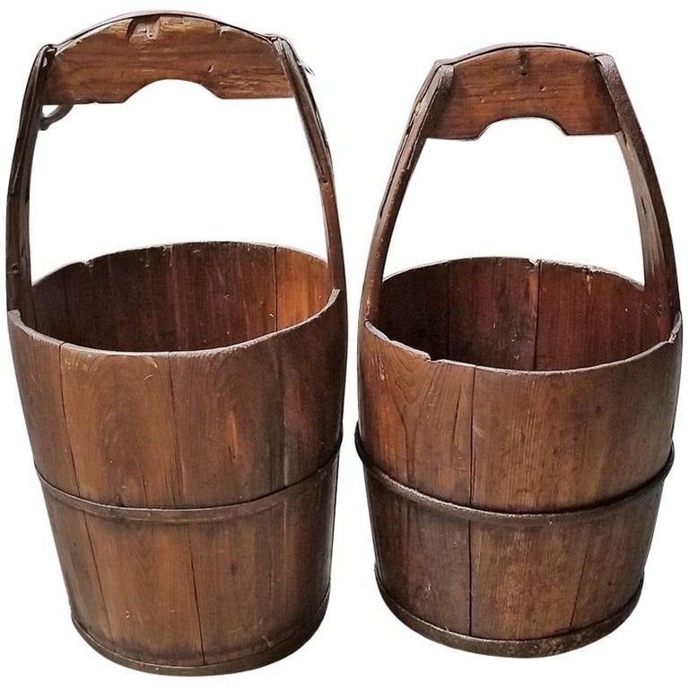 Pair of 19th Century Oak and Iron Banded Water Buckets or Pails