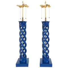 Mid-Century Modern Frederick Cooper Double Helix Form Lamps, a Pair