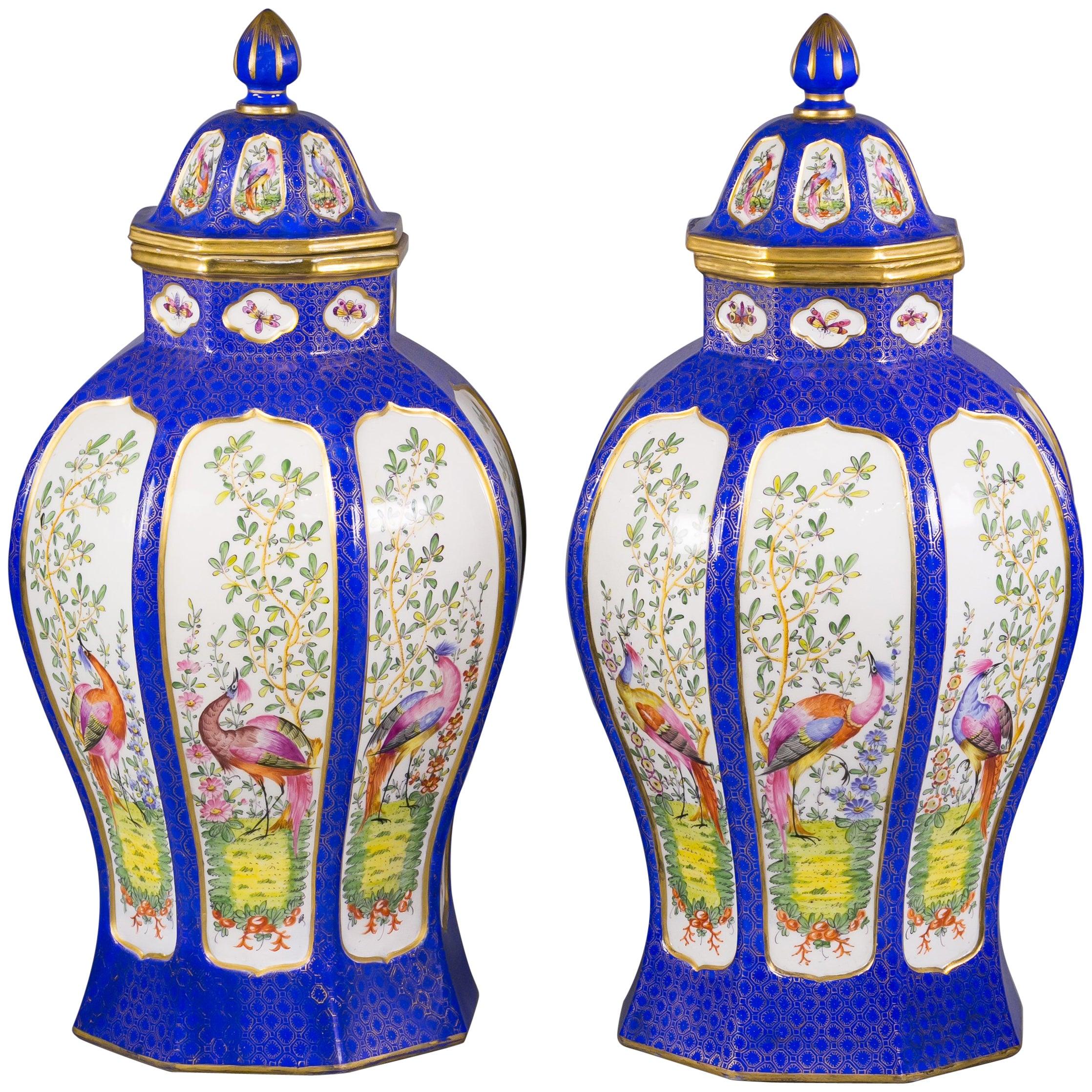 Pair of French Porcelain Covered Jars, Samson, circa 1880