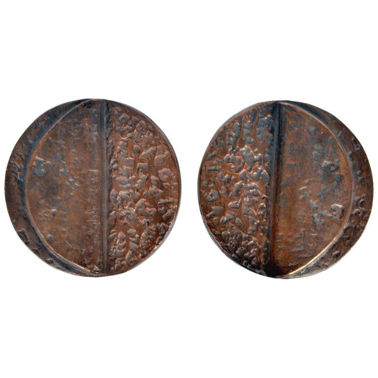 Brutalist Pair of Round Bronze Brutalist Push and Pull 1970s Door Handles