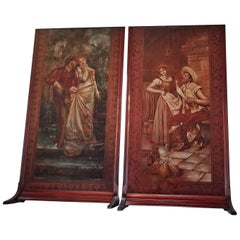 Pair of Monumental Framed Italian 18 Century Painted Tapestries