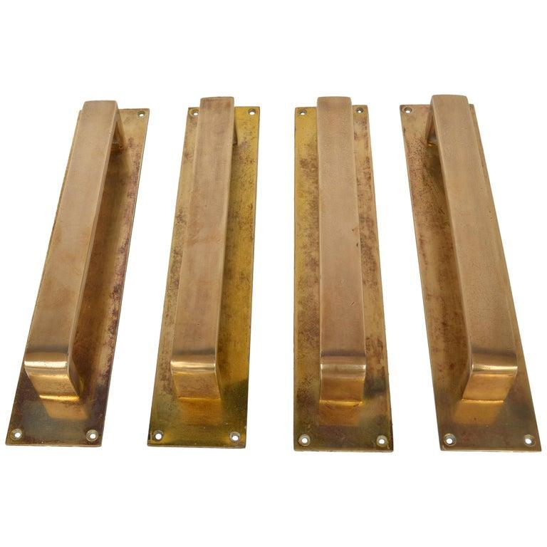 Double Pair of Bronze Push and Pull Door Handles