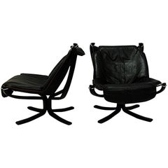 Black Falcon Lounge chairs Deluxe set of two by Sigurd Resell, Norway, 1970s