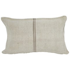 Antique Nubby 19th Century European Brown Stripe Grain Sack Pillows