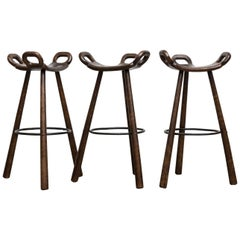 Set of 3 Sergio Rodriguez Style Dark Spanish 'Marbella' Bar Stools