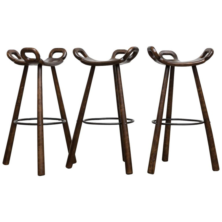 Set of 3 Sergio Rodriguez Style Dark Spanish 'Marbella' Bar Stools For Sale