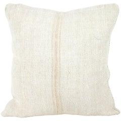 Antique Nubby 19th Century European Light Orange Stripe Grain Sack Pillows