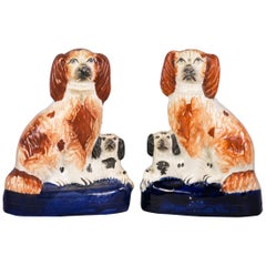 Pair of Staffordshire Poodle Groups, circa 1890