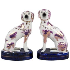 Pair of Staffordshire Lustred Poodle Groups, circa 1860