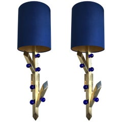 Contemporary Pair of Brass Sconces Plant Murano Glass, Italy
