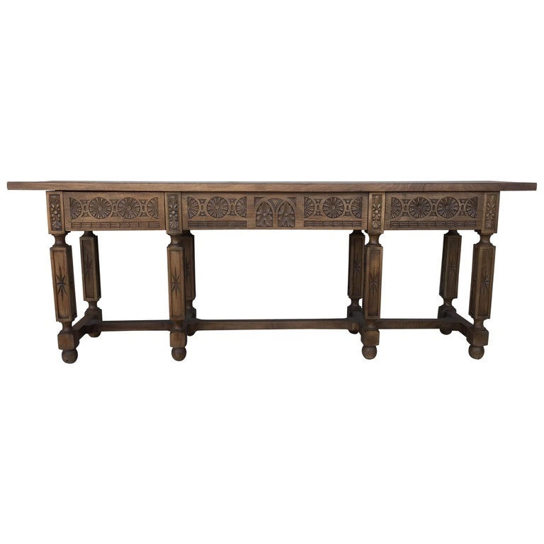 19th Century Spanish Carved Walnut Bench or Low Table with Two Drawers For Sale