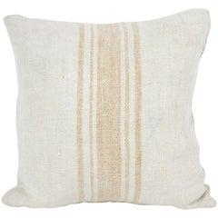 Antique Nubby 19th Century European Orange Stripe Grain Sack Pillows
