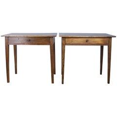 Pair of Antique Poplar Side Tables
