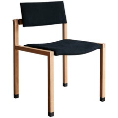 Joinery Dining Chair by Billy Cotton in Oak, Blackened Brass and Black Linen