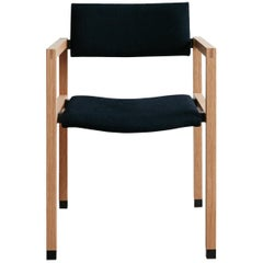 Joinery Dining Chair with Arms by Billy Cotton in Oak, Blackened Brass and Linen
