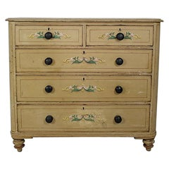 19th Century Original Painted and Florally Decorated Pine Chest Of Drawers