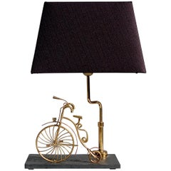 Handcrafted 1970s Brass and Copper Bicycle Table Lamp, Signed