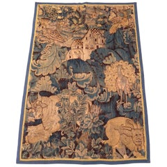 Late 16th Century Antique Flemish Game Park Verdure 'Marche' Tapestry Panel