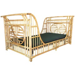 Oriental Style High Grange Pole Rattan Twin Size Sleigh Bed Frame