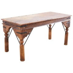 Anglo-Indian Teak Dining or Library Table