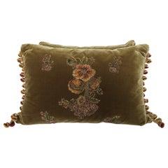 Pair of Metallic & Chenille Embroidered Silk Velvet Pillows by Melissa Levinson
