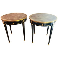 Pair of Bronze Mounted Ebonized Bouillotte / End Tables Mirror Tops Jansen Style