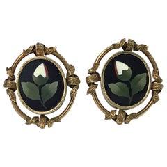 Pair of Antique 14-Karat Pietra Dura Earrings, circa 1875