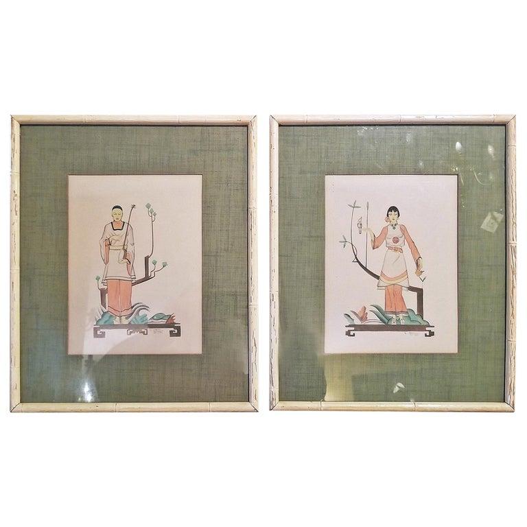 Pair of Art Deco Mixed-Media Pieces by Robert Reinhardt Von Liski