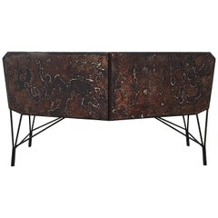 Contemporary Rusty Buffet Triarm, Silver Wood Inside, Limited Edition
