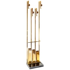 Midcentury Italian Brass Coat and Umbrella Rack or Stand